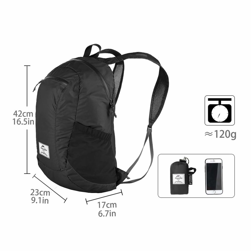 naturehike packable backpack size