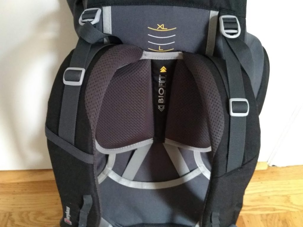 The adjustable back 'Biofit' system on the Berghaus Trailhead 65.