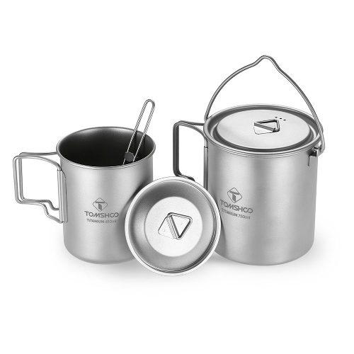 tomshoo 3 piece titanium set cups spork