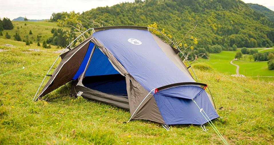 The Coleman Cobra 2 man tent, pitched. Source: https://www.amazon.co.uk/gp/product/B0047T69S2/ref=as_li_tl?ie=UTF8&tag=thrifty2008-21&camp=1634&creative=6738&linkCode=as2&creativeASIN=B0047T69S2&linkId=d4dc8c3da1b385d6e64acb0779d15091